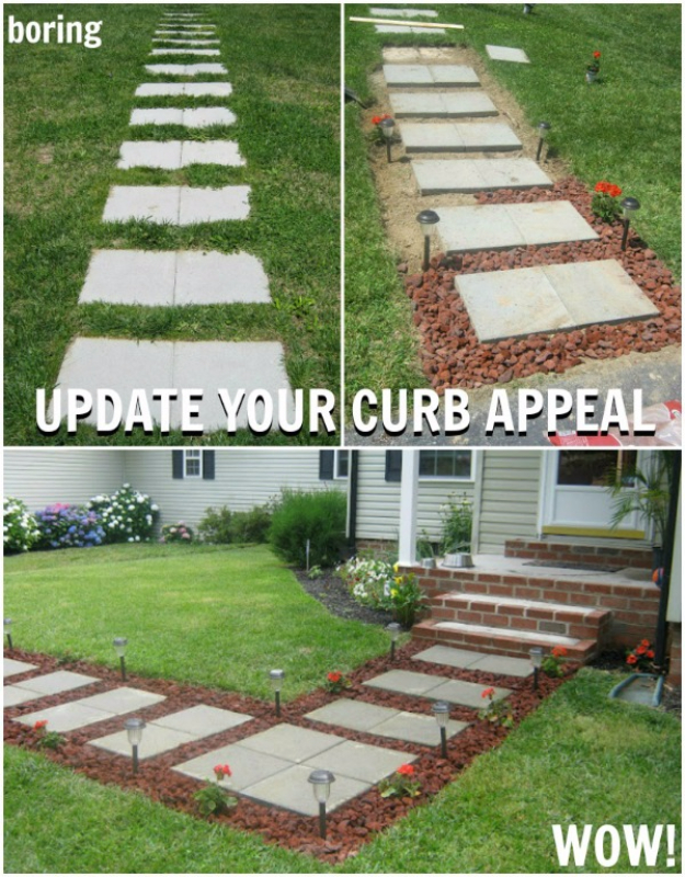 Creative Ways to Increase Curb Appeal on A Budget - Lava Rock Pavers - Cheap and Easy Ideas for Upgrading Your Front Porch, Landscaping, Driveways, Garage Doors, Brick and Home Exteriors. Add Window Boxes, House Numbers