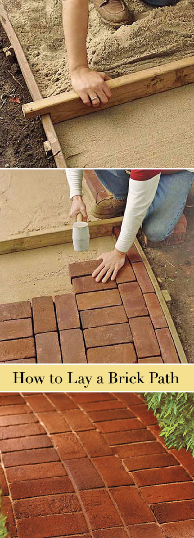 Creative Ways to Increase Curb Appeal on A Budget - Lay A Brick Path - Cheap and Easy Ideas for Upgrading Your Front Porch, Landscaping, Driveways, Garage Doors, Brick and Home Exteriors. Add Window Boxes, House Numbers