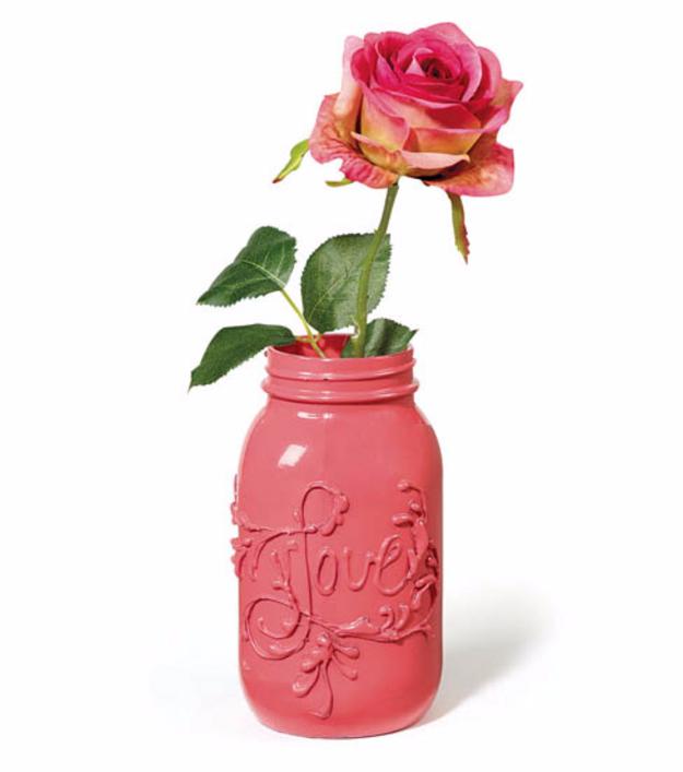 DIY Mason Jar Vases - Love Embossed Mason Jar Vase - Best Vase Projects and Ideas for Mason Jars - Painted, Wedding, Hanging Flowers, Centerpiece, Rustic Burlap, Ribbon and Twine