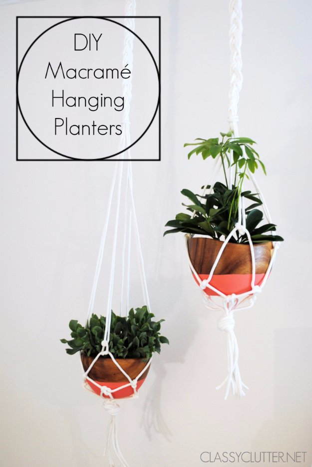 DIY Renters Decor Ideas - Macrame Hanging Planters Tutorial - Cool DIY Projects for Those Renting Aparments, Condos or Dorm Rooms - Easy Temporary Wall Art, Contact Paper, Washi Tape and Shelves to Make at Home  #diyhomedecor #diyideas