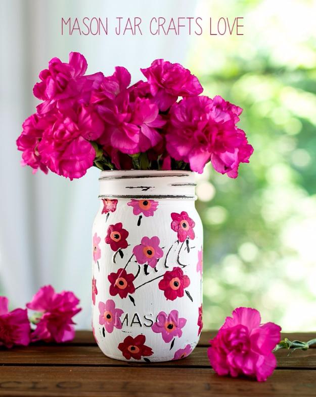 DIY Mason Jar Vases - Marimekko Mason Jar - Best Vase Projects and Ideas for Mason Jars - Painted, Wedding, Hanging Flowers, Centerpiece, Rustic Burlap, Ribbon and Twine