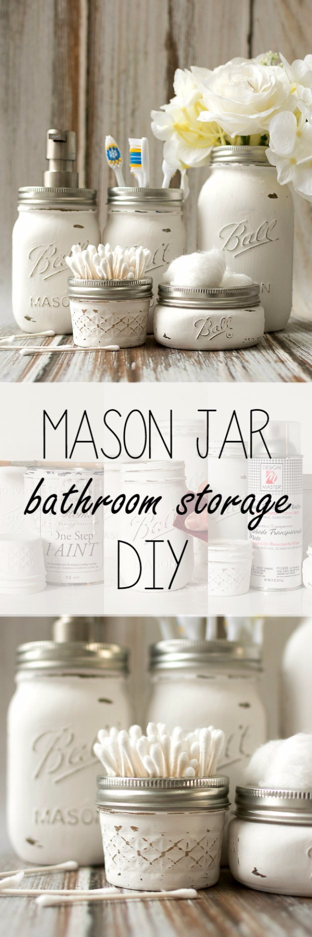 DIY Bathroom Decor Ideas - Mason Jar Bathroom Storage Accessories - Cool Do It Yourself Bath