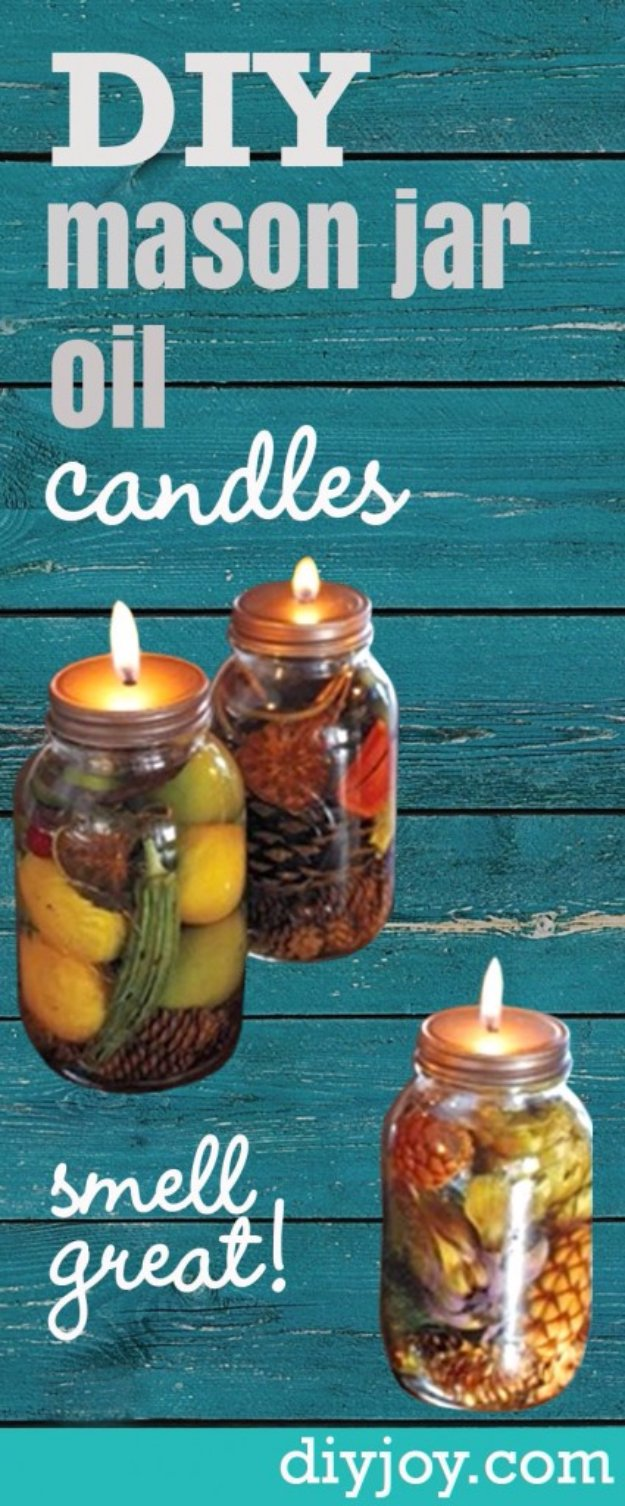 Best Mason Jar Crafts for Fall - Mason Jar Oil Candles - DIY Mason Jar Ideas for Centerpieces, Wedding Decorations, Homemade Gifts, Craft Projects with Leaves, Flowers and Burlap, Painted Art, Candles and Luminaries for Cool Home Decor