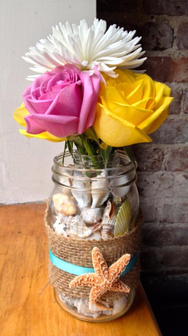 DIY Mason Jar Vases - Mason Jar Shell Vase - Best Vase Projects and Ideas for Mason Jars - Painted, Wedding, Hanging Flowers, Centerpiece, Rustic Burlap, Ribbon and Twine http://diyjoy.com/diy-mason-jar-vases