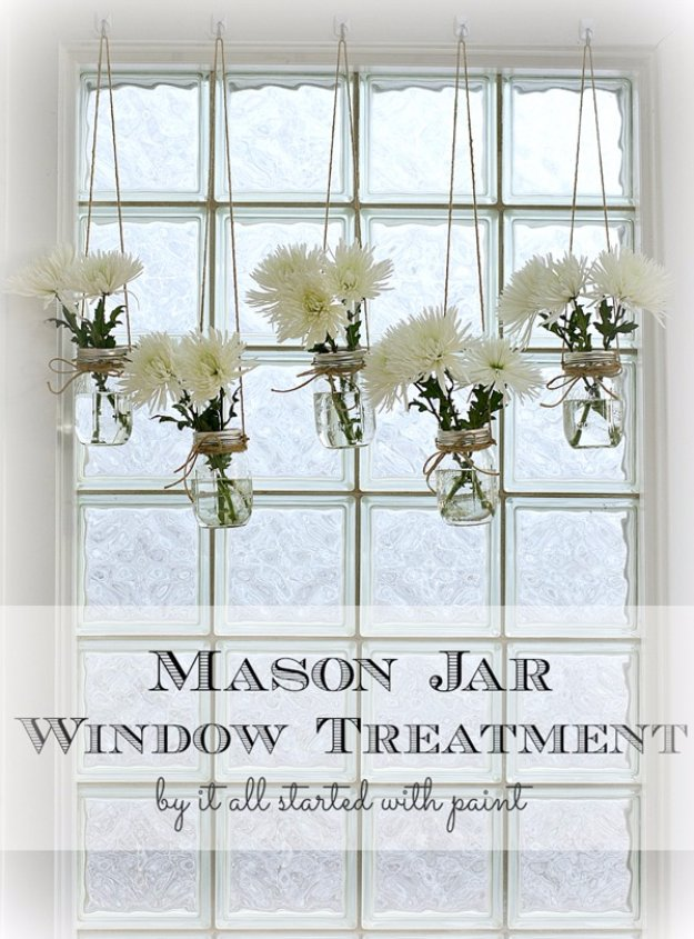 DIY Living Room Decor Ideas - Mason Jar Window Treatment - Cool Modern, Rustic and Creative Home Decor - Coffee Tables, Wall Art, Rugs, Pillows and Chairs. Step by Step Tutorials and Instructions
