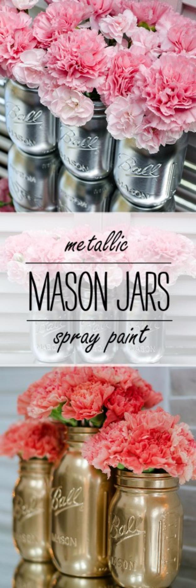 DIY Mason Jar Vases - Metallic Spray Paint Mason Jar Vases - Best Vase Projects and Ideas for Mason Jars - Painted, Wedding, Hanging Flowers, Centerpiece, Rustic Burlap, Ribbon and Twine