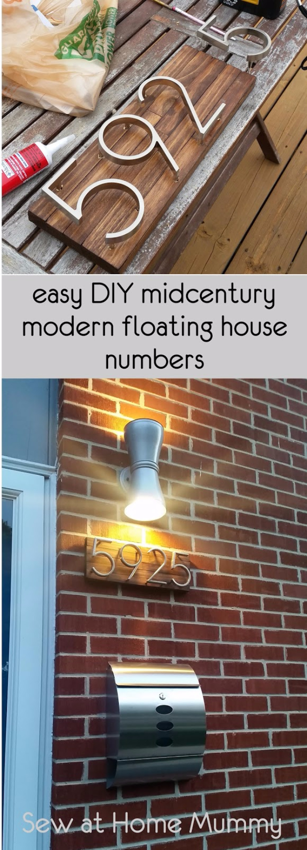 Creative Ways to Increase Curb Appeal on A Budget - Mid Century Modern House Numbers - Cheap and Easy Ideas for Upgrading Your Front Porch, Landscaping, Driveways, Garage Doors, Brick and Home Exteriors. Add Window Boxes, House Numbers