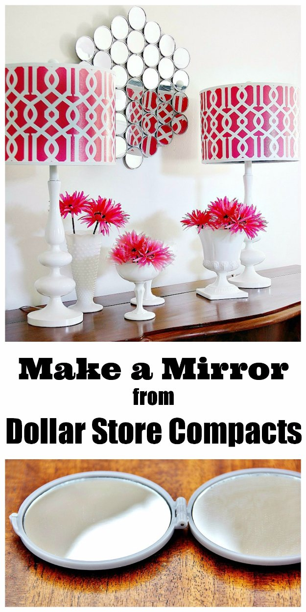 Easy Crafts To Make and Sell - Mirror Wall From Dollar Store Compacts - Cool Homemade Craft Projects You Can Sell On Etsy, at Craft Fairs, Online and in Stores. Quick and Cheap DIY Ideas that Adults and Even Teens #craftstosell #diyideas #crafts