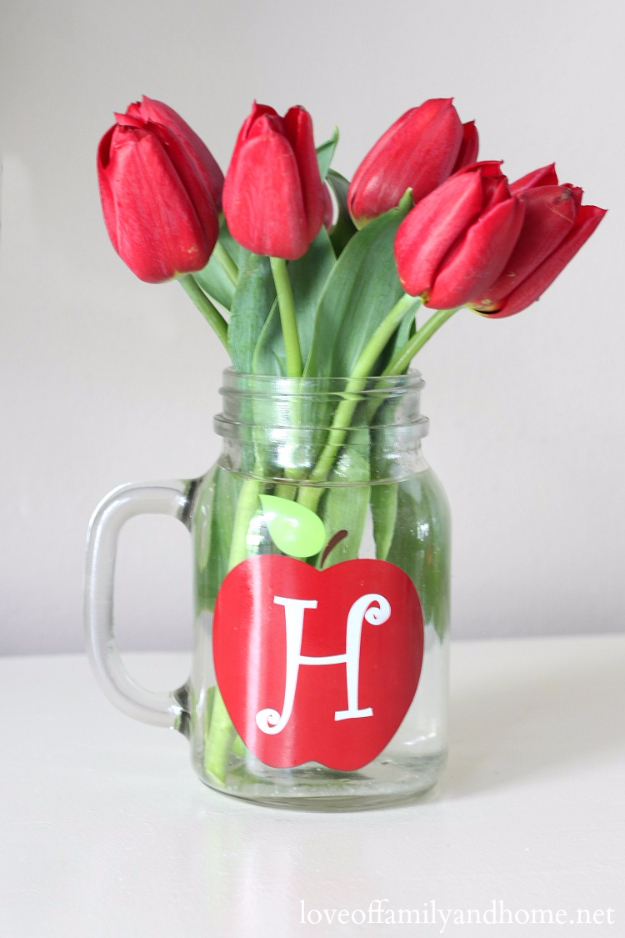 DIY Mason Jar Vases - Monogrammed Mason Jar Vase - Best Vase Projects and Ideas for Mason Jars - Painted, Wedding, Hanging Flowers, Centerpiece, Rustic Burlap, Ribbon and Twine http://diyjoy.com/diy-mason-jar-vases