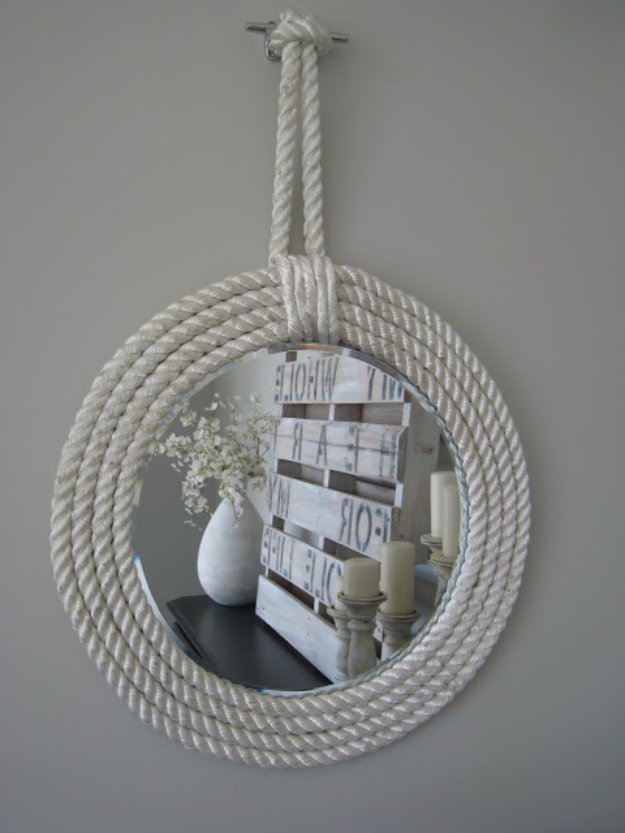DIY Bathroom Decor Ideas - Nautical Rope Mirror - Cool Do It Yourself Bath Ideas on A Budget, Rustic Bathroom Fixtures, Creative Wall Art, Rugs mason jar idea bath diy