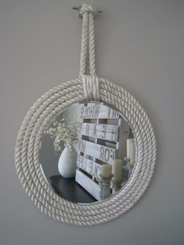 DIY Bathroom Decor Ideas - Nautical Rope Mirror - Cool Do It Yourself Bath Ideas on A Budget, Rustic Bathroom Fixtures, Creative Wall Art, Rugs mason jar idea bath diy