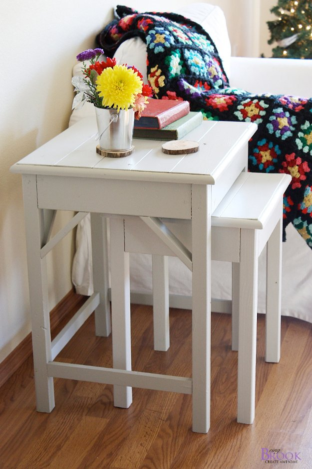 DIY End Tables with Step by Step Tutorials - Nesting Side Tables - Cheap and Easy End Table Projects and Plans - Wood, Storage, Pallet, Crate, Modern and Rustic. Bedroom and Living Room Decor Ideas #endtables #diydecor #diy