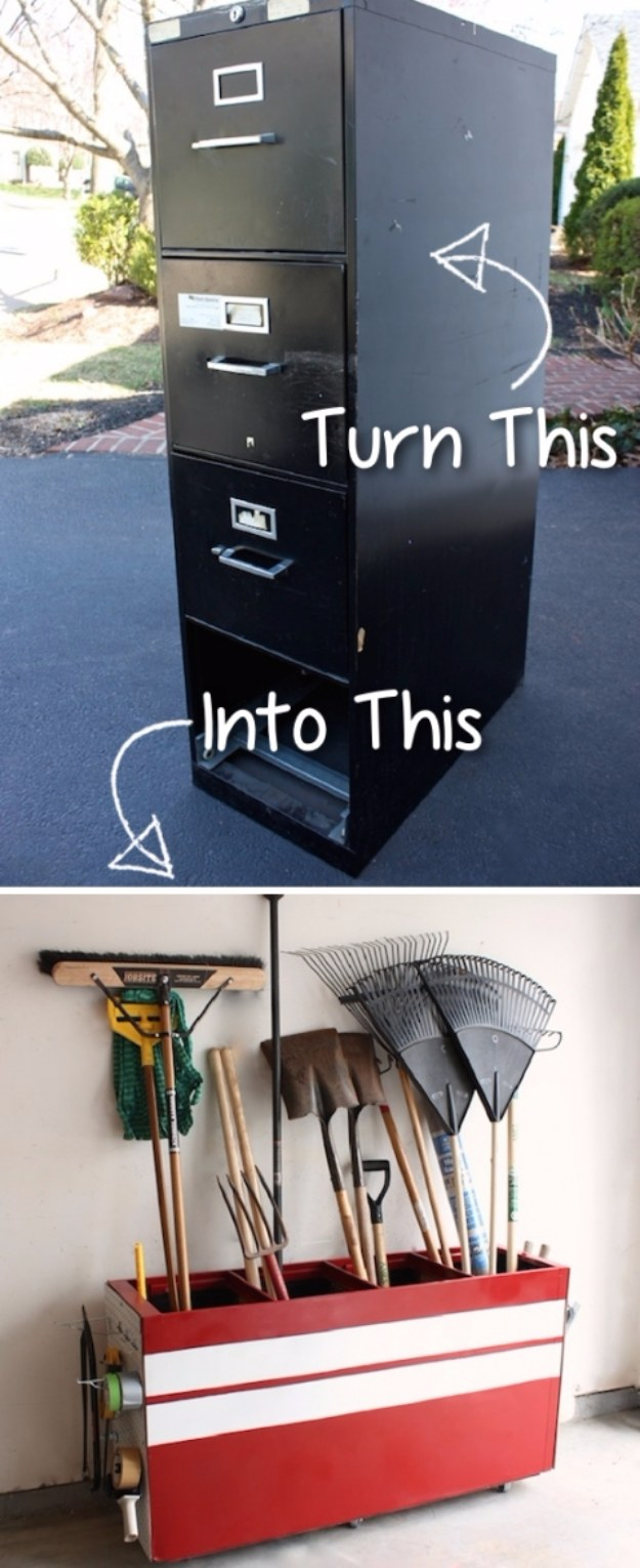 DIY Projects Your Garage Needs -Old File Cabinet Into A Garage Storage - Do It Yourself Garage Makeover Ideas Include Storage, Organization, Shelves, and Project Plans for Cool New Garage Decor #diy #garage #homeimprovement