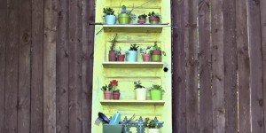 Old Distressed Door Plant Shelf Holder…So Clever!