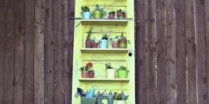 Old Distressed Door Plant Shelf Holder…So Clever!