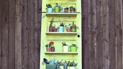 Old Distressed Door Plant Shelf Holder So Clever