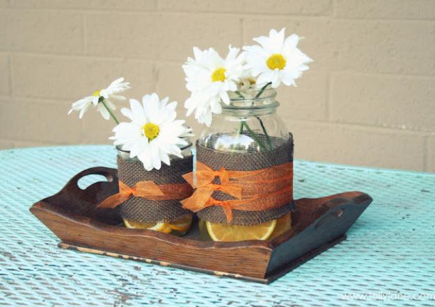 DIY Mason Jar Vases - Oranges And Burlap Mason Jar Vase - Best Vase Projects and Ideas for Mason Jars - Painted, Wedding, Hanging Flowers, Centerpiece, Rustic Burlap, Ribbon and Twine