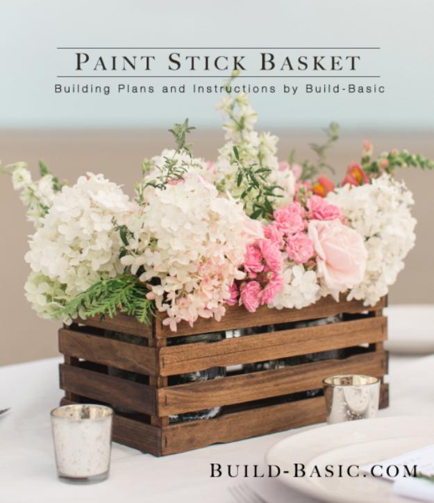 DIY Farmhouse Style Decor Ideas - Paint Stick Basket Centerpiece - Rustic Ideas for Furniture, Paint Colors, Farm House Decoration for Living Room, Kitchen and Bedroom #diy