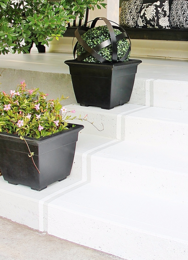 Creative Ways to Increase Curb Appeal on A Budget - Paint Striped Porch Steps - Cheap and Easy Ideas for Upgrading Your Front Porch, Landscaping, Driveways, Garage Doors, Brick and Home Exteriors. Add Window Boxes, House Numbers