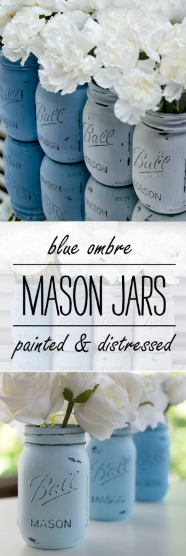 DIY Mason Jar Vases - Painted And Distressed Blue Ombre Mason Jars - Best Vase Projects and Ideas for Mason Jars - Painted, Wedding, Hanging Flowers, Centerpiece, Rustic Burlap, Ribbon and Twine http://diyjoy.com/diy-mason-jar-vases