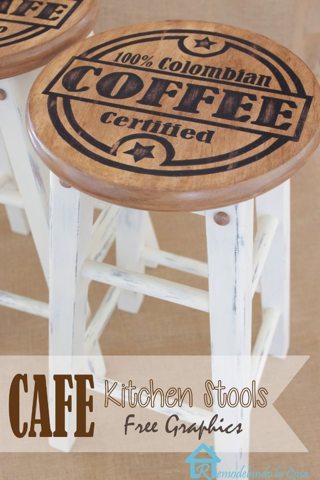 DIY Kitchen Decor Ideas - Painted Kitchen Stool - Creative Furniture Projects, Accessories, Countertop Ideas, Wall Art, Storage, Utensils, Towels and Rustic Furnishings #diyideas #kitchenideass