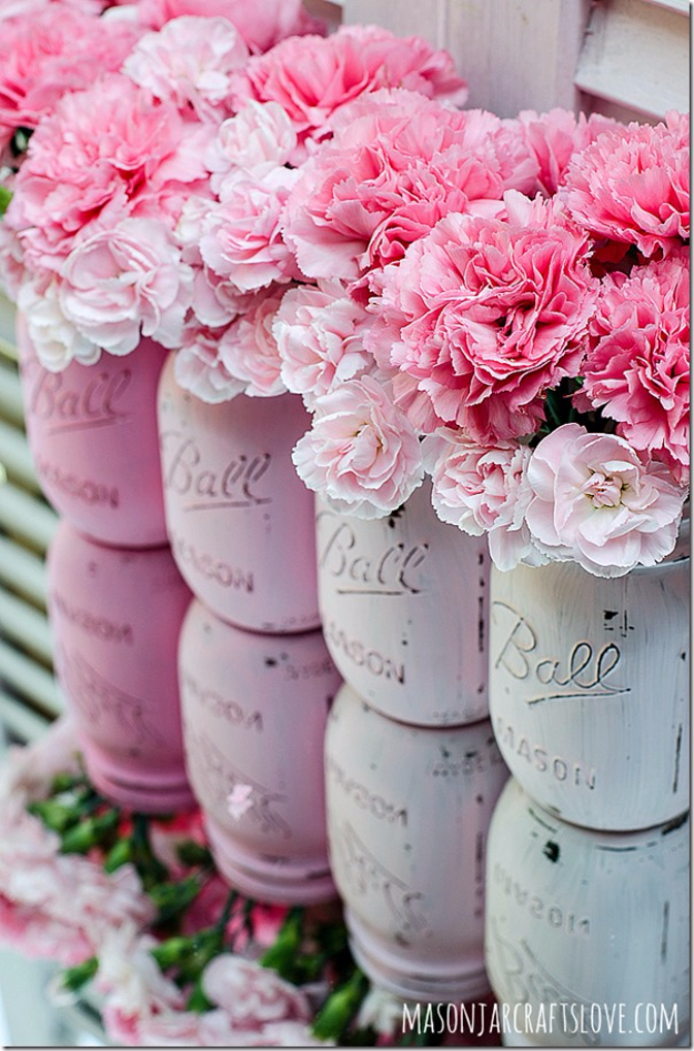 DIY Mason Jar Vases - Painted Pink Ombre Mason Jar - Best Vase Projects and Ideas for Mason Jars - Painted, Wedding, Hanging Flowers, Centerpiece, Rustic Burlap, Ribbon and Twine http://diyjoy.com/diy-mason-jar-vases