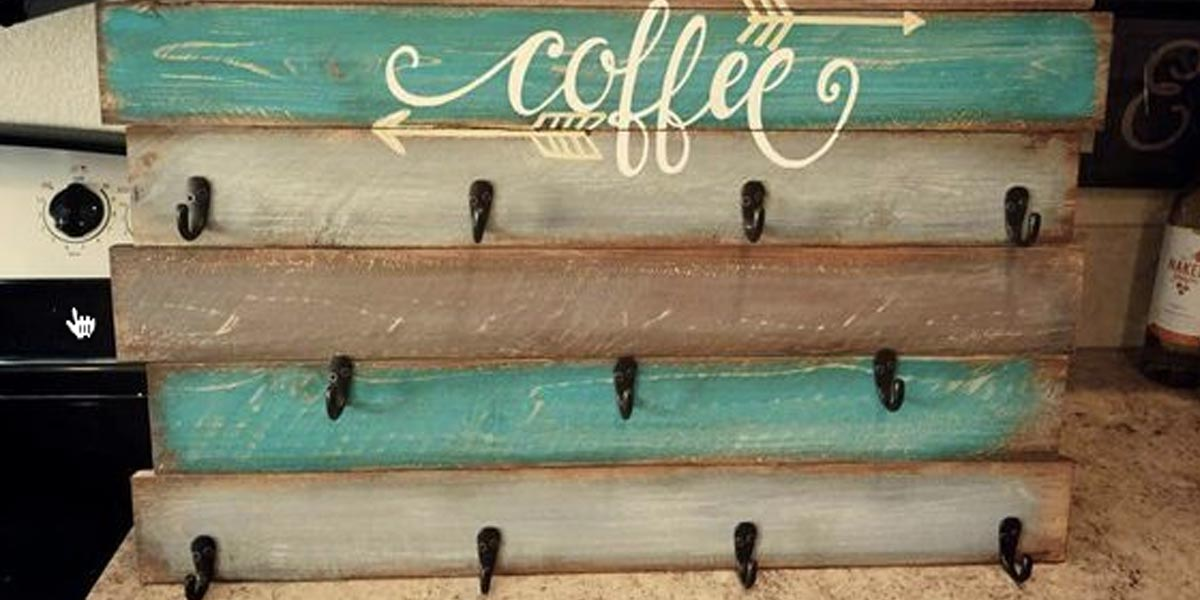 DIY Farmhouse Style Decor Ideas - PalletCoffeeCupHolder - Rustic Ideas for Furniture, Paint Colors, Farm House Decoration for Living Room, Kitchen and Bedroom http://diyjoy.com/diy-farmhouse-decor-ideas