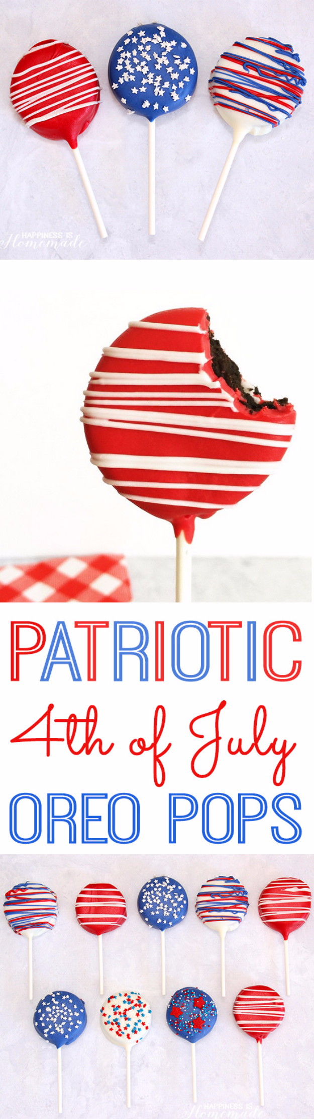 Best Fourth of July Food and Drink Ideas - Patriotic Oreo Pops for 4th of July - BBQ on the 4th with these Desserts, Recipes and Ideas for Healthy Appetizers, Party Trays, Easy Meals for a Crowd and Fun Drink Ideas