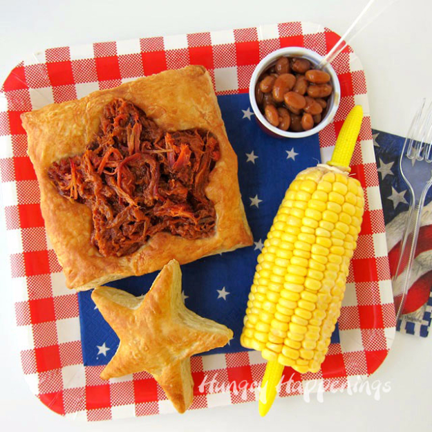 Best Fourth of July Food and Drink Ideas - Patriotic Puff Pastry BBQ Recipe - BBQ on the 4th with these Desserts, Recipes and Ideas for Healthy Appetizers, Party Trays, Easy Meals for a Crowd and Fun Drink Ideas