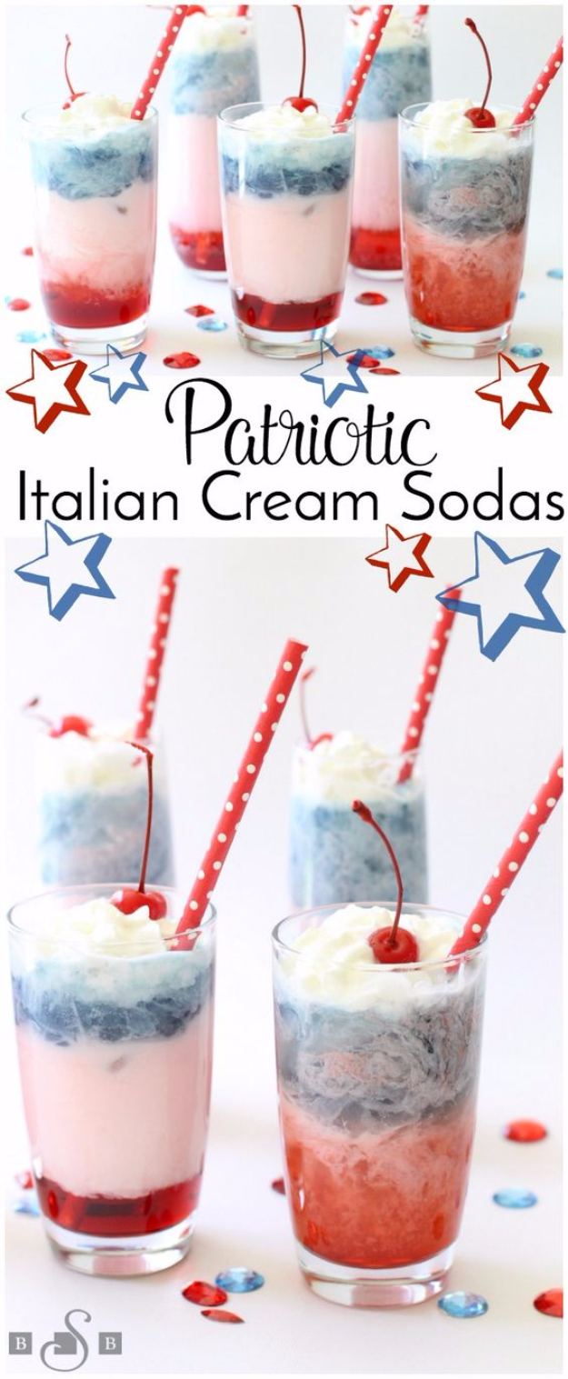Best Fourth of July Food and Drink Ideas - Patriotic Red White Blue Italian Cream Sodas - BBQ on the 4th with these Desserts, Recipes and Ideas for Healthy Appetizers, Party Trays, Easy Meals for a Crowd and Fun Drink Ideas