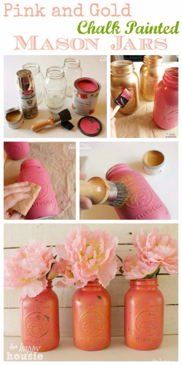 DIY Mason Jar Vases - Pink And Gold Chalk Painted Mason Jars - Best Vase Projects and Ideas for Mason Jars - Painted, Wedding, Hanging Flowers, Centerpiece, Rustic Burlap, Ribbon and Twine