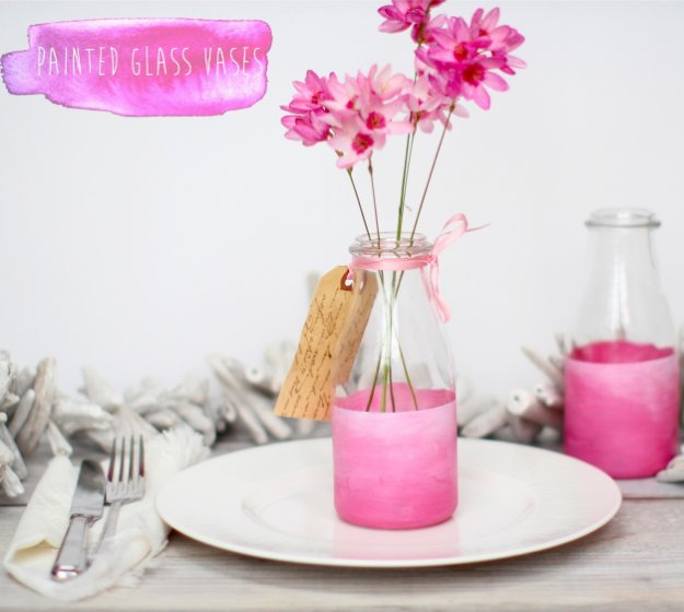 DIY Living Room Decor Ideas - Pink Painted Glass Vases - Cool Modern, Rustic and Creative Home Decor - Coffee Tables, Wall Art, Rugs, Pillows and Chairs. Step by Step Tutorials and Instructions