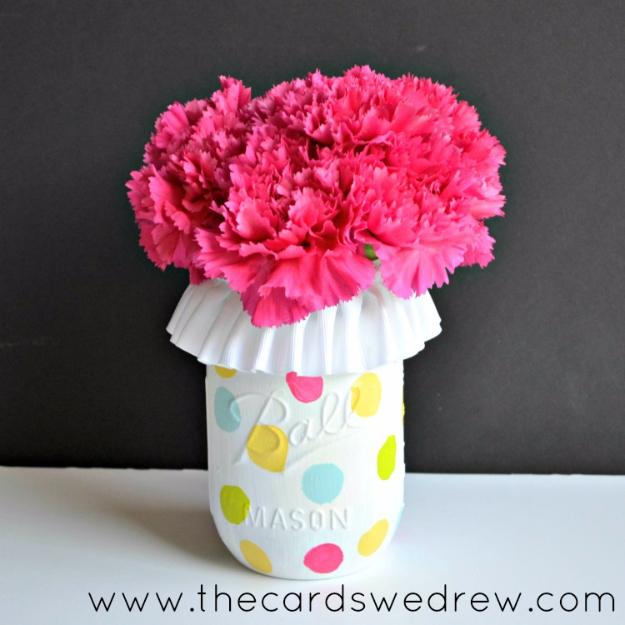 DIY Mason Jar Vases - Polka Dot Mason Jar Vase - Best Vase Projects and Ideas for Mason Jars - Painted, Wedding, Hanging Flowers, Centerpiece, Rustic Burlap, Ribbon and Twine