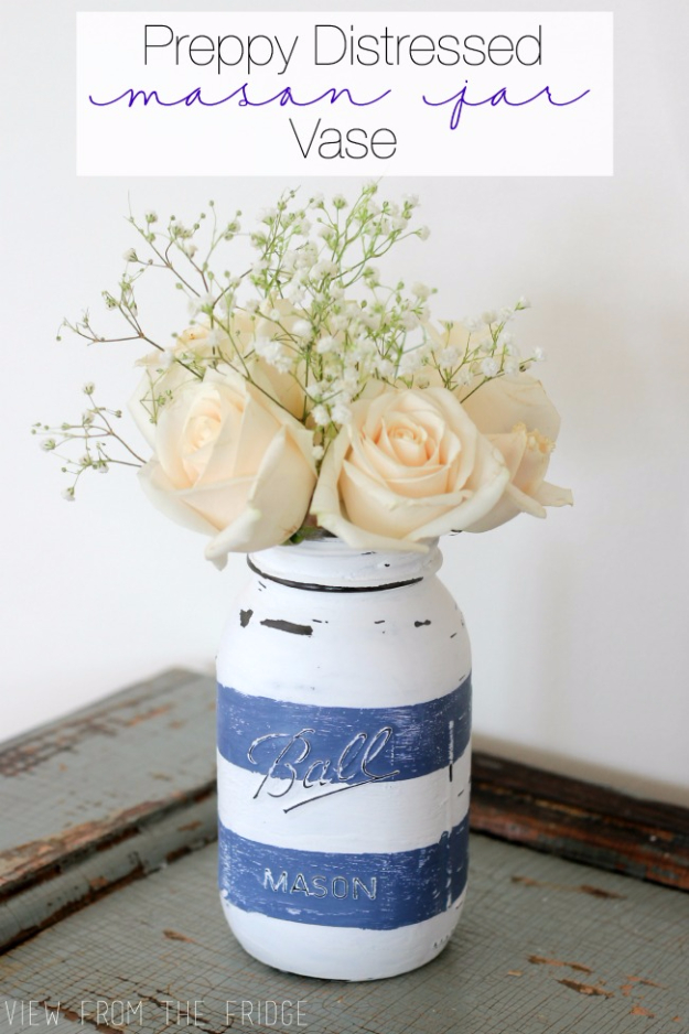 DIY Mason Jar Vases - Preppy Distressed Mason Jar Vase - Best Vase Projects and Ideas for Mason Jars - Painted, Wedding, Hanging Flowers, Centerpiece, Rustic Burlap, Ribbon and Twine http://diyjoy.com/diy-mason-jar-vases
