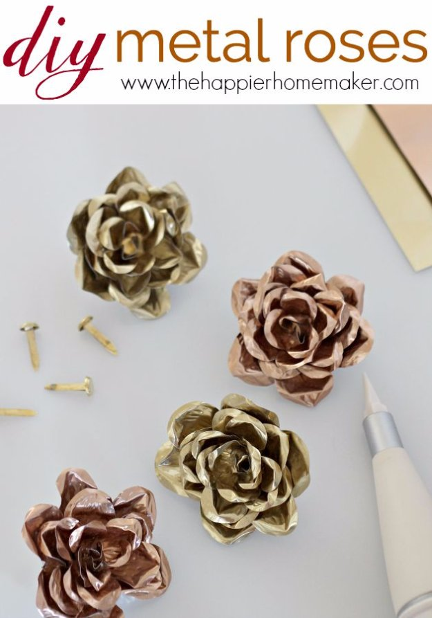Easy Crafts To Make and Sell - Pretty Metal Roses - Cool Homemade Craft Projects You Can Sell On Etsy, at Craft Fairs, Online and in Stores. Quick and Cheap DIY Ideas that Adults and Even Teens #craftstosell #diyideas #crafts