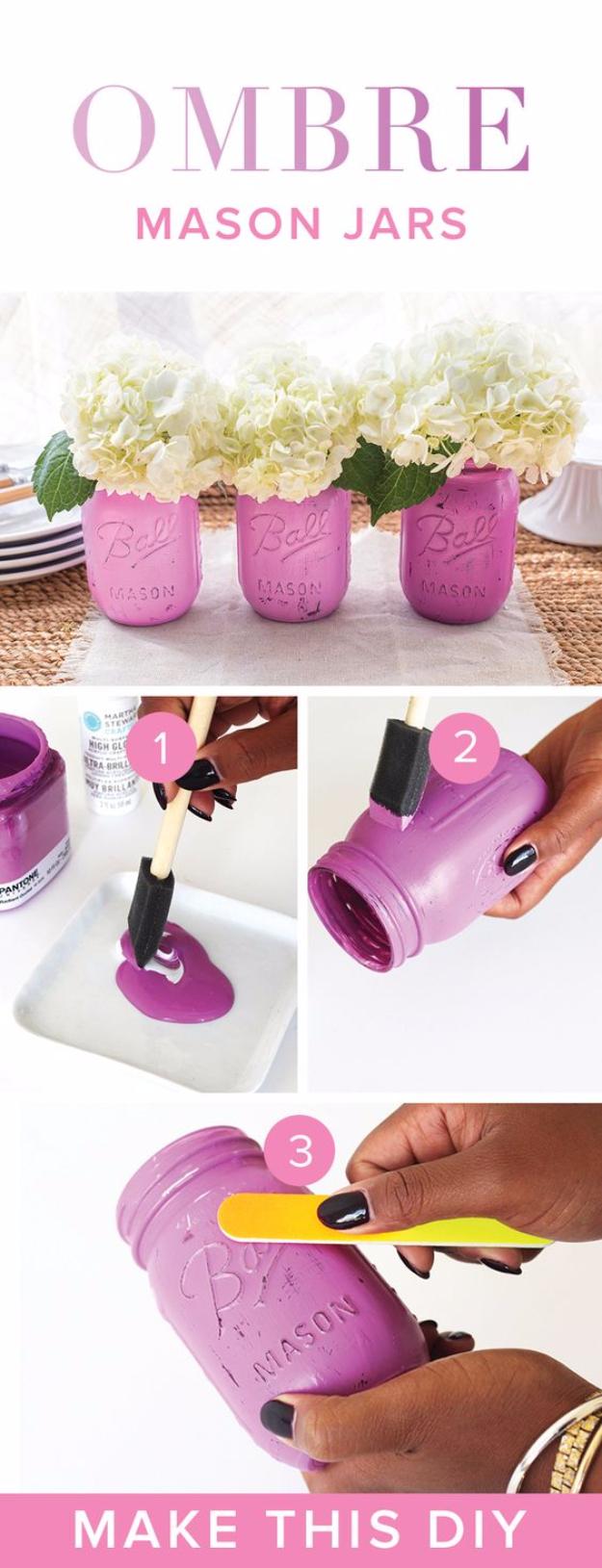 DIY Mason Jar Vases - Purple Ombre Mason Jar Vases - Best Vase Projects and Ideas for Mason Jars - Painted, Wedding, Hanging Flowers, Centerpiece, Rustic Burlap, Ribbon and Twine