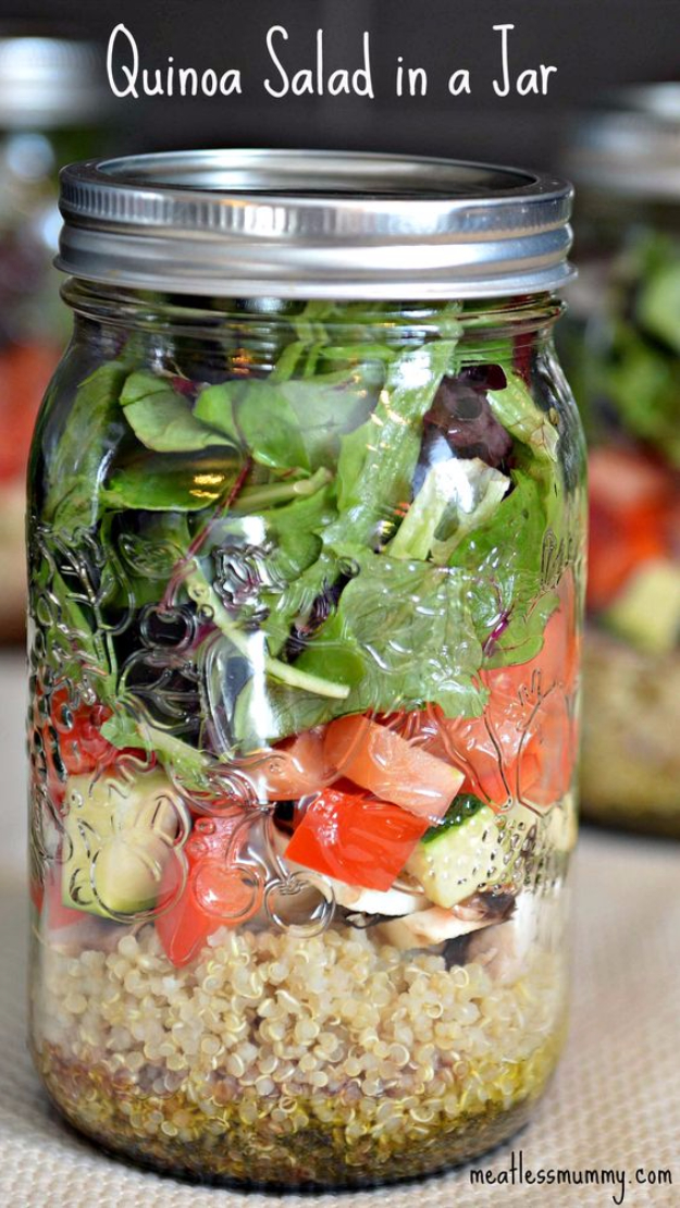 Best Recipes in A Jar - Quinoa Salad In A Jar - DIY Mason Jar Gifts, Cookie Recipes and Desserts, Canning Ideas, Overnight Oatmeal, How To Make Mason Jar Salad, Healthy Recipes and Printable Labels