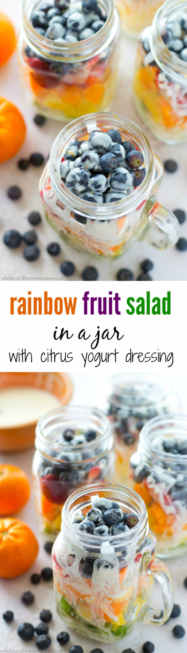 Best Recipes in A Jar - Rainbow Fruit Salad - DIY Mason Jar Gifts, Cookie Recipes and Desserts, Canning Ideas, Overnight Oatmeal, How To Make Mason Jar Salad, Healthy Recipes and Printable Labels