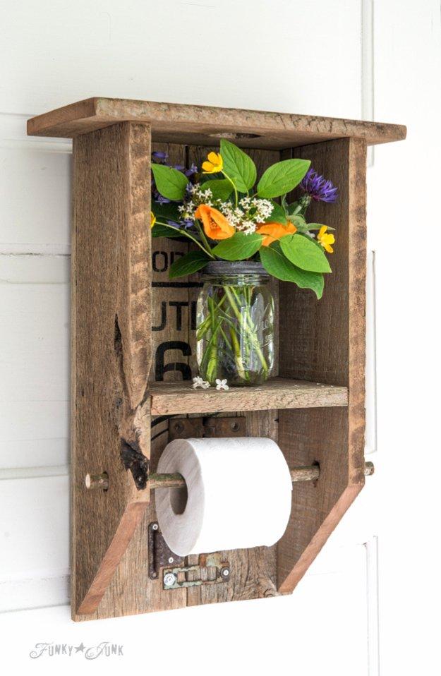 DIY Bathroom Decor Ideas - Reclaimed Wood Branch Bathroom Shelf - Cool Do It Yourself Bath Ideas on A Budget, Rustic Bathroom Fixtures, Creative Wall Art, Rugs mason jar idea bath diy