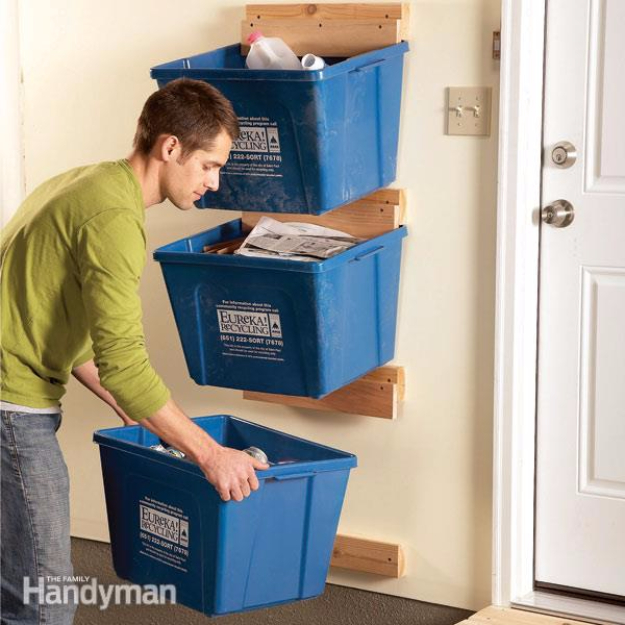 DIY Projects Your Garage Needs -Recycled Bin Hangers - Do It Yourself Garage Makeover Ideas Include Storage, Organization, Shelves, and Project Plans for Cool New Garage Decor #diy #garage #homeimprovement