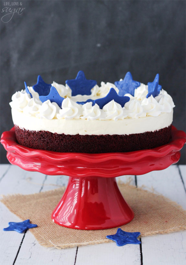 Best Fourth of July Food and Drink Ideas - Red Velvet Blondie Cheesecake - BBQ on the 4th with these Desserts, Recipes and Ideas for Healthy Appetizers, Party Trays, Easy Meals for a Crowd and Fun Drink Ideas http://diyjoy.com/diy-fourth-of-july-party-ideas