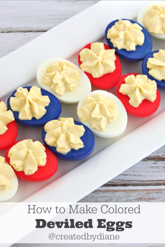 Best Fourth of July Food and Drink Ideas - Red White And Blue Deviled Eggs - BBQ on the 4th with these Desserts, Recipes and Ideas for Healthy Appetizers, Party Trays, Easy Meals for a Crowd and Fun Drink Ideas