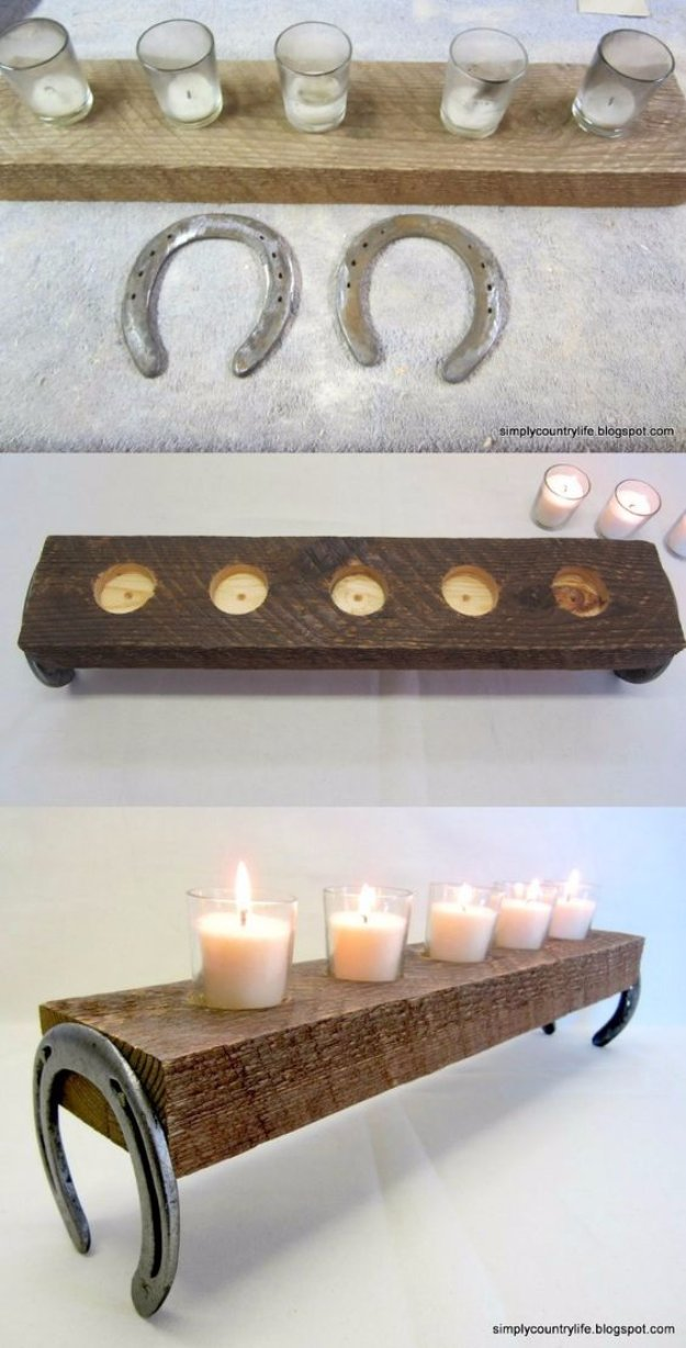 DIY Renters Decor Ideas - Repurposed Horseshoe and Chunk of Wood Votives - Cool DIY Projects for Those Renting Aparments, Condos or Dorm Rooms - Easy Temporary Wall Art, Contact Paper, Washi Tape and Shelves to Make at Home  #diyhomedecor #diyideas