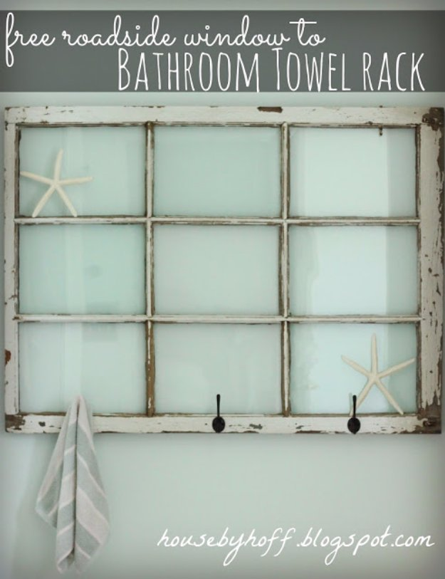 DIY Bathroom Decor Ideas - Repurposed Window Bathroom Towel Rack - Cool Do It Yourself Bath Ideas on A Budget, Rustic Bathroom Fixtures, Creative Wall Art, Rugs mason jar idea bath diy