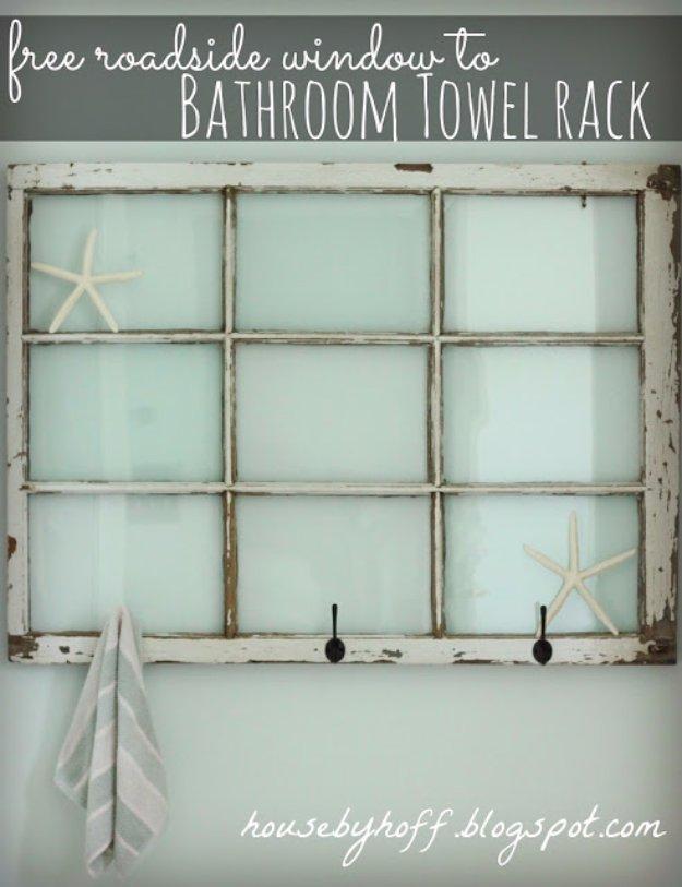 DIY Bathroom Decor Ideas - Repurposed Window Bathroom Towel Rack - Cool Do It Yourself Bath Ideas on A Budget, Rustic Bathroom Fixtures, Creative Wall Art, Rugs mason jar idea bath diy