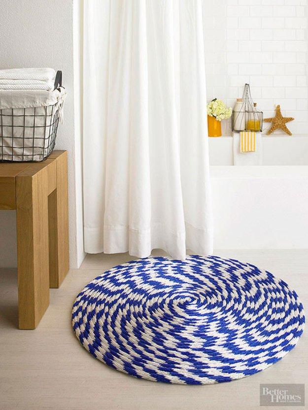 DIY Bathroom Decor Ideas - Rope and Braided Fibers Bathroom Rug - Cool Do It Yourself Bath Ideas on A Budget, Rustic Bathroom Fixtures, Creative Wall Art, Rugs mason jar idea bath diy
