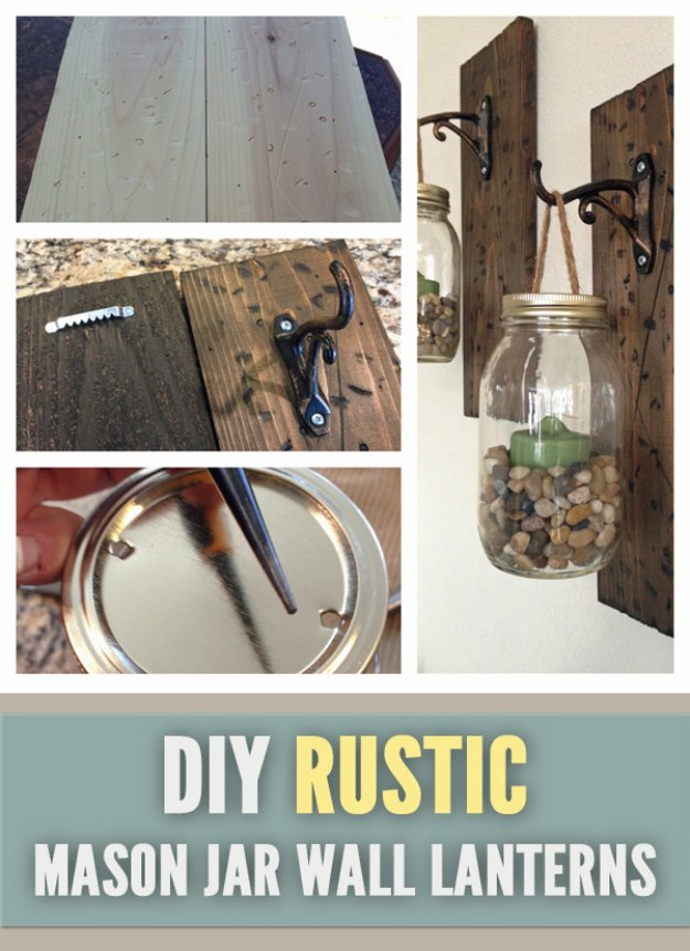 DIY Living Room Decor Ideas - Rustic DIY Mason Jar Wall Lanterns - Cool Modern, Rustic and Creative Home Decor - Coffee Tables, Wall Art, Rugs, Pillows and Chairs. Step by Step Tutorials and Instructions