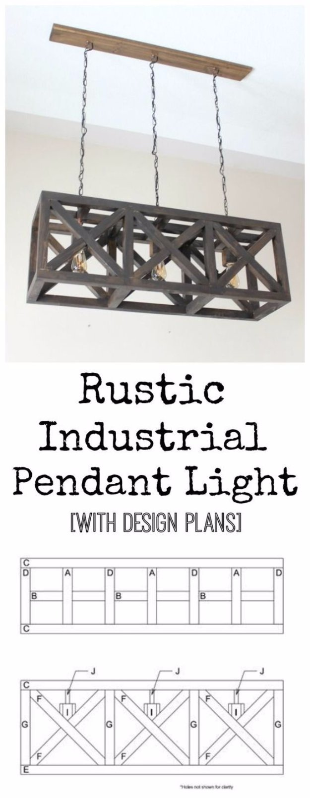 DIY Renters Decor Ideas - Rustic Industrial Pendant Light - Cool DIY Projects for Those Renting Aparments, Condos or Dorm Rooms - Easy Temporary Wall Art, Contact Paper, Washi Tape and Shelves to Make at Home #diyhomedecor #diyideas