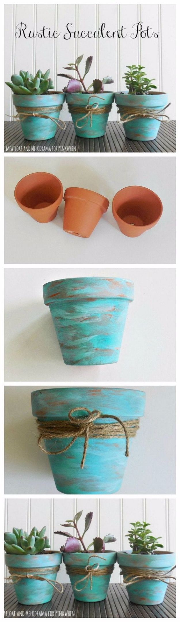 DIY Farmhouse Style Decor Ideas - Rustic Succulent Pots - Rustic Ideas for Furniture, Paint Colors, Farm House Decoration for Living Room, Kitchen and Bedroom #diy