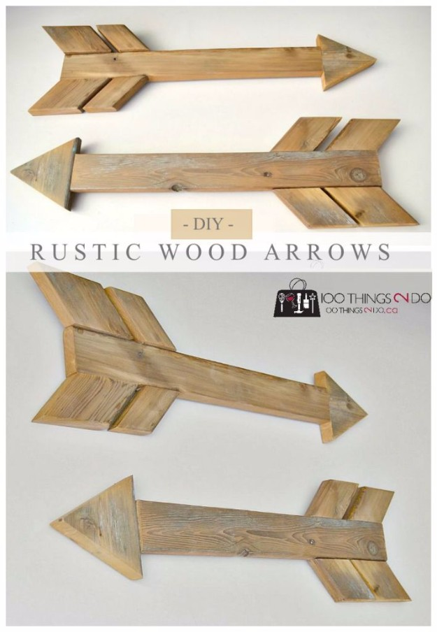 Rustic Home Decor Ideas to Make on A Budget - DIY Wall Art Ideas - Easy Crafts To Make and Sell - Rustic Wood Arrows - Simple Craft Projects To Sell On Etsy #craftstosell #diyideas #crafts